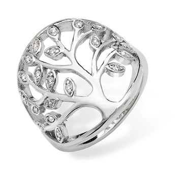SILVER CUBIC ZIRCONIA SET TREE OF LIFE RING