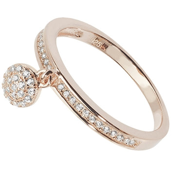 ROSE GOLD VERMEIL CUBIC ZIRCONIA SET CHARM RING