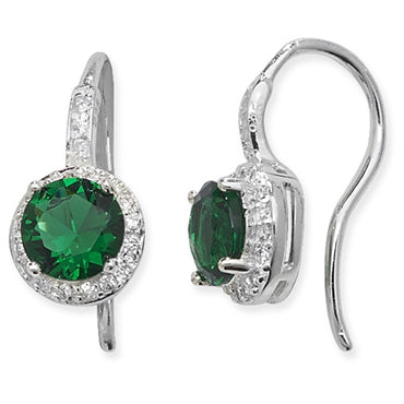 SILVER CLEAR & GREEN CUBIC ZIRCONIA DROP EARRINGS