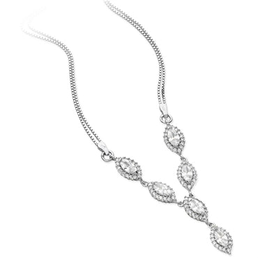 SILVER MARQUISE SHAPED CUBIC ZIRCONIA LARIAT NECKLACE