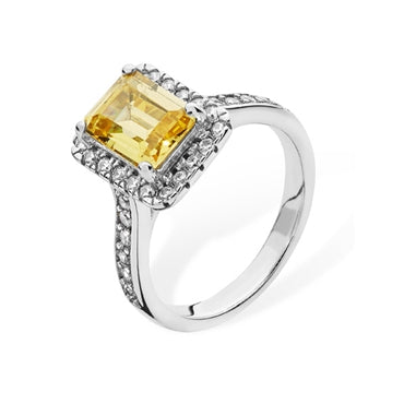 SILVER RECTANGULAR YELLOW & WHITE CUBIC ZIRCONIA HALO RING