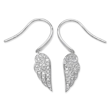 SILVER CUBIC ZIRCONIA SET WINGDROP EARRINGS