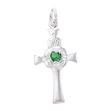 SILVER CLADDAGH CROSS WITH GREEN CRYSTAL