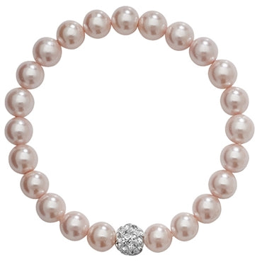 SILVER CRYSTAL SET PINK PEARL CHILDS STRETCHY BRACELET