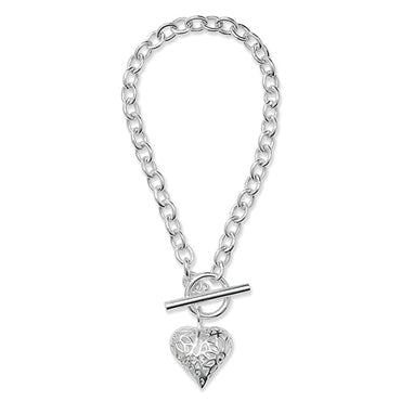 SILVER T-BAR BELCHER FILIGREE HEART BRACELET