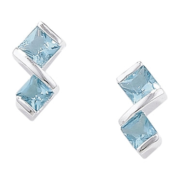 SILVER GEMSTONE DOUBLE SQUARE STUD EARRINGS