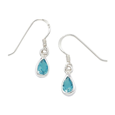 SILVER GEMSTONE PEAR DROP EARRINGS