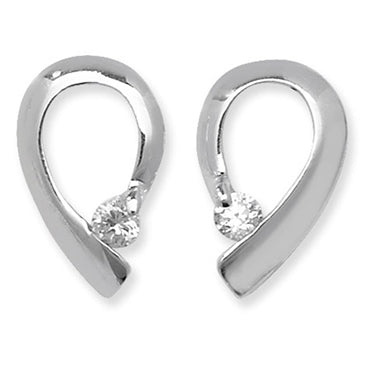 SILVER CUBIC ZIRCONIA TEAR STUD EARRINGS/PENDANT