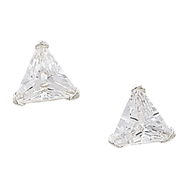 SILVER CUBIC ZIRCONIA TRIANGLE STUD EARRINGS