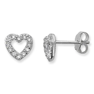 SILVER CUBIC ZIRCONIA OPEN HEART STUD EARRINGS