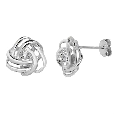 SILVER CUBIC ZIRCONIA WOOLMARK STUD EARRINGS