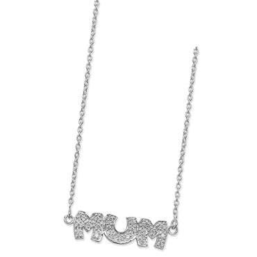 SILVER CUBIC ZIRCONIA SET 'MUM' NECKLACE
