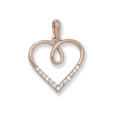 ROSE GOLD VERMEIL CUBIC ZIRCONIA SET HEART PENDANT