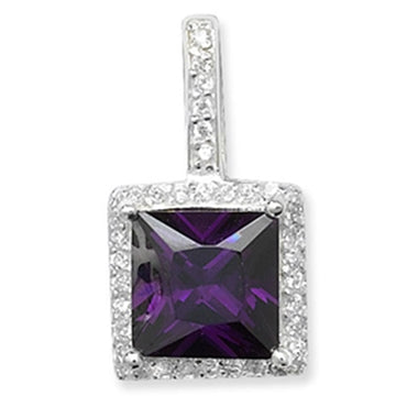 SILVER AMETHYST & CUBIC ZIRCONIA SQUARE PENDANT