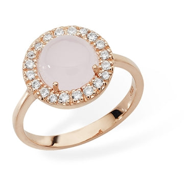 ROSE GOLD VERMEIL CUBIC ZIRCONIA HALO RING