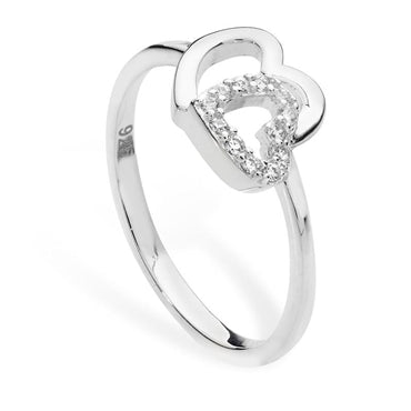 SILVER CUBIC ZIRCONIA DOUBLE HEART RING
