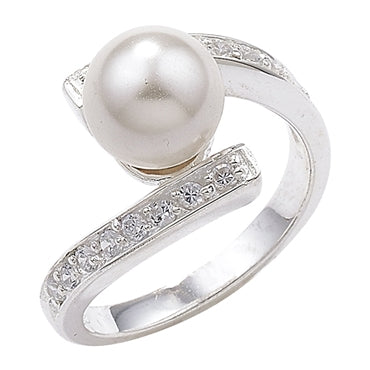 SILVER CUBIC ZIRCONIA & PEARL CROSSOVER RING