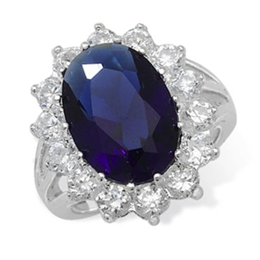 SILVER SYNTHETIC SAPPHIRE & CUBIC ZIRCONIA RING