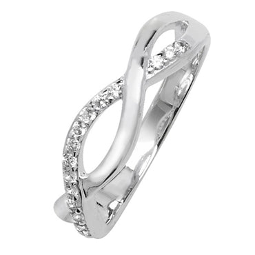 SILVER CUBIC ZIRCONIA OPEN TWIST RING