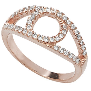 ROSE GOLD VERMEIL CUBIC ZIRCONIA SET EYE RING