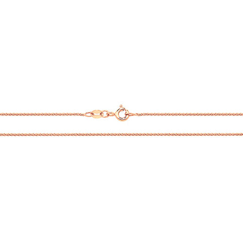 9CT ROSE GOLD WHEAT ROUND CHAIN