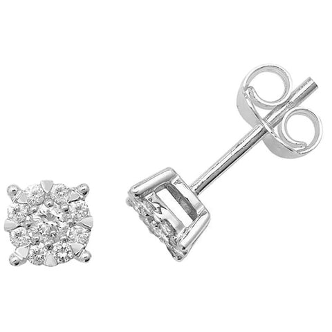 9CT WHITE GOLD BRILLIANT CUT DIAMOND CLUSTER STUDS