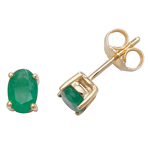 9CT GOLD OVAL EMERALD STUDS