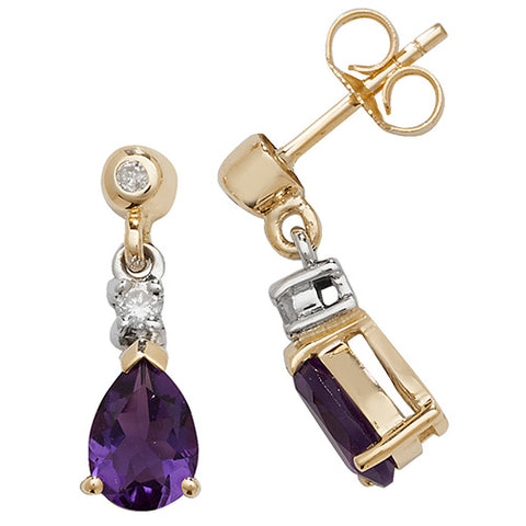 9CT GOLD PEAR CUT AMETHYST & DIAMOND DROP EARRINGS
