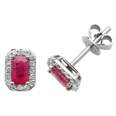 9CT WHITE GOLD OCTAGONAL RUBY & DIAMOND STUDS