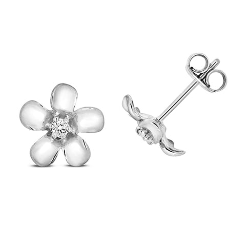 9CT WHITE GOLD DIAMOND DAISY STUD EARRINGS