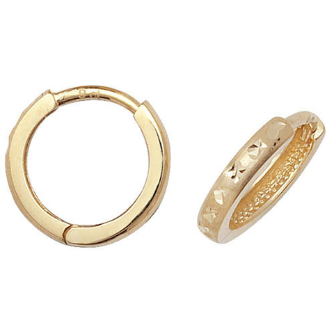9CT GOLD HINGED DIAMOND CUT HUGGIE HOOPS