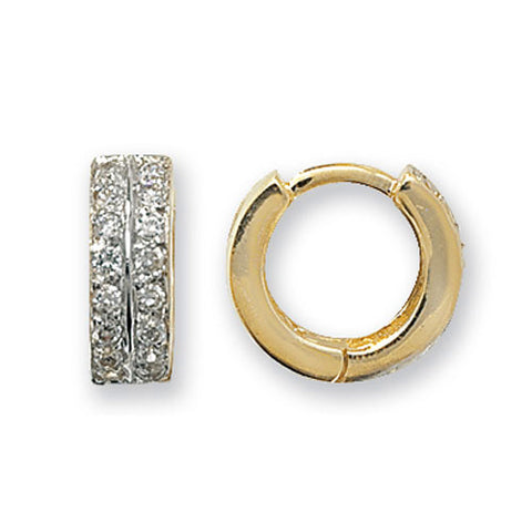 9CT GOLD CUBIC ZIRCONIA SET HINGED HUGGIE EARRINGS