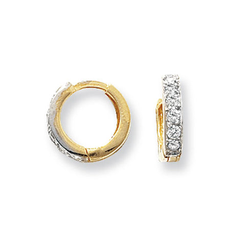 9CT GOLD CHANNEL SET CUBIC ZIRCONIA HINGED HUGGIE EARRINGS