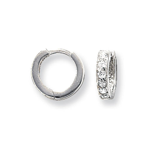9CT WHITE GOLD CHANNEL SET CUBIC ZIRCONIA HINGED HUGGIE EARRINGS