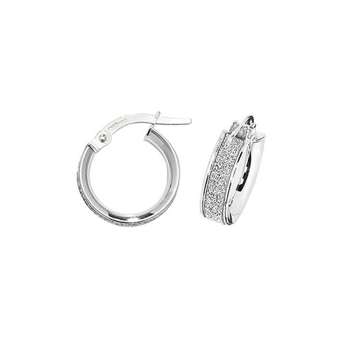 9CT WHITE GOLD FROSTED HOOP EARRINGS
