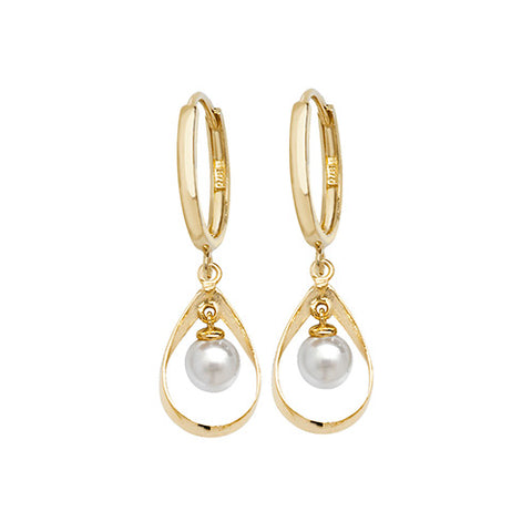 9CT GOLD HUGGIE PEARL DROP EARRING