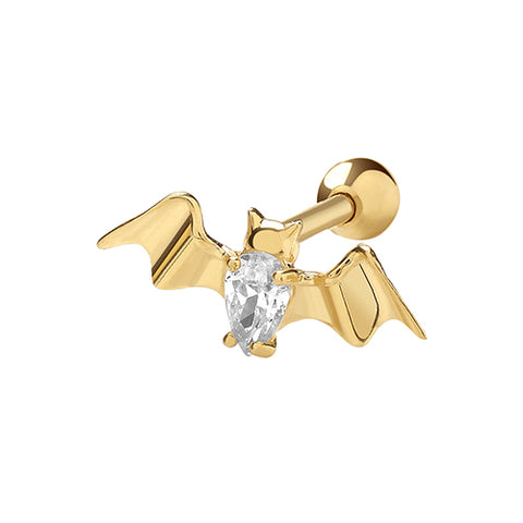 9CT GOLD CUBIC ZIRCONIA BAT CARTILAGE STUD