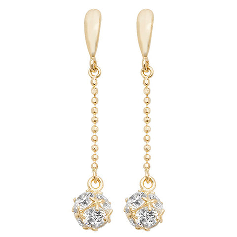 9CT GOLD DELICATE CUBIC ZIRCONIA BALL DROPS