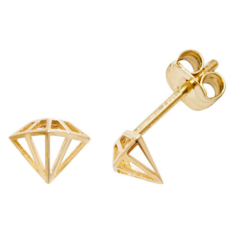 9CT GOLD GEOMETRIC GEMSTONE STUD EARRINGS