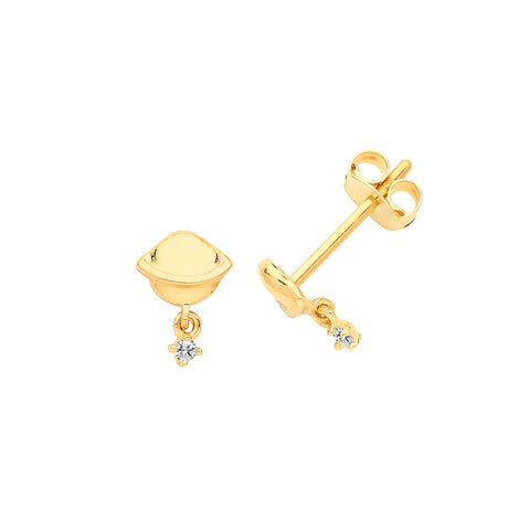 9CT GOLD SATURN CUBIC ZIRCONIA DROP EARRINGS