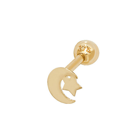 9CT GOLD MOON & STAR HELIX CARTILAGE STUD