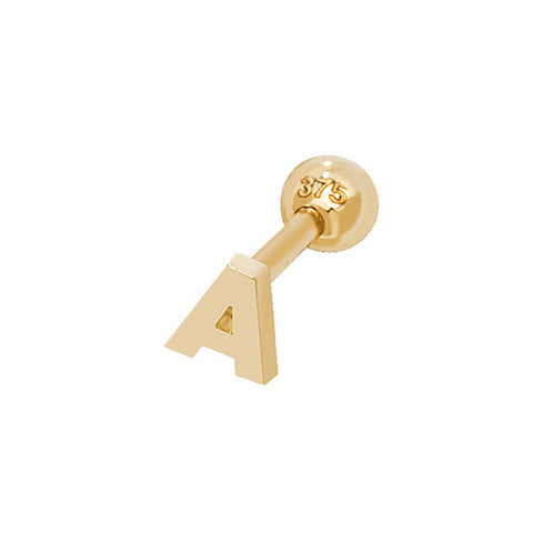 9CT GOLD INITIAL CARTILAGE STUD