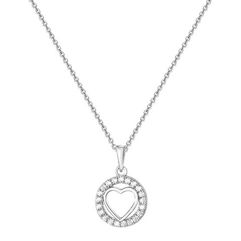 RHODIUM PLATED SILVER CUBIC ZIRCONIA HEART IN CIRCLE PENDANT ON CHAIN