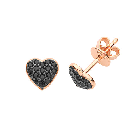 ROSE GOLD VERMEIL & BLACK CUBIC ZIRCONIA HEART STUDS