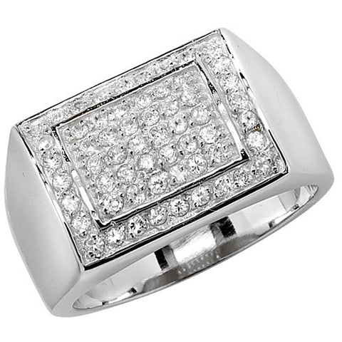 SILVER PAVE SET CUBIC ZIRCONIA RECTANGULAR SIGNET RING