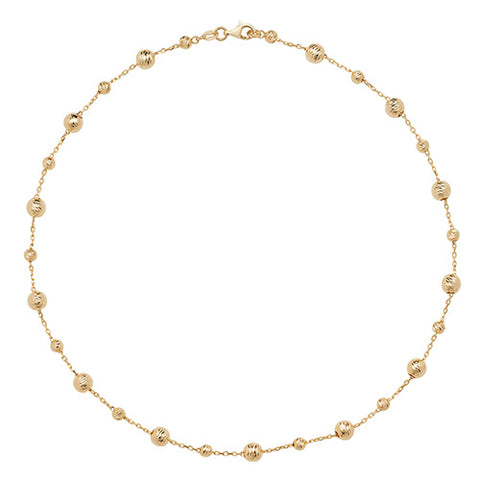 9CT GOLD DIAMOND CUT SPHERE NECKLET