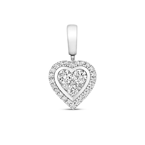 9CT WHITE GOLD DIAMOND HEART CLUSTER PENDANT