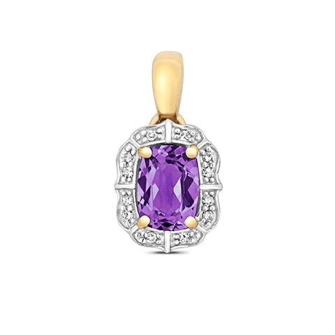 9CT GOLD CUSHION CUT AMETHYST & DIAMOND PENDANT