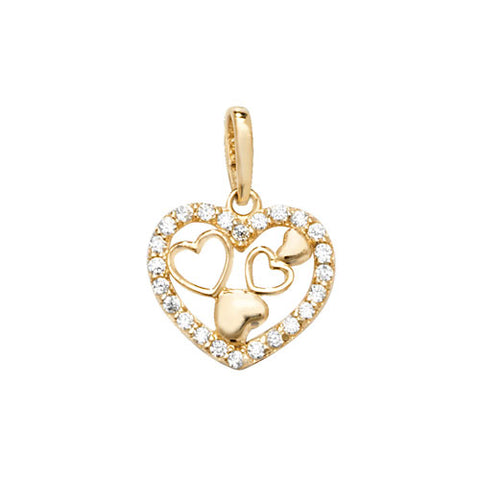 9CT GOLD CUBIC ZIRCONIA SET MULTI HEART PENDANT