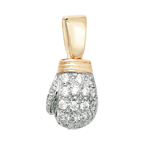 9CT GOLD CUBIC ZIRCONIA SET BOXING GLOVE PENDANT